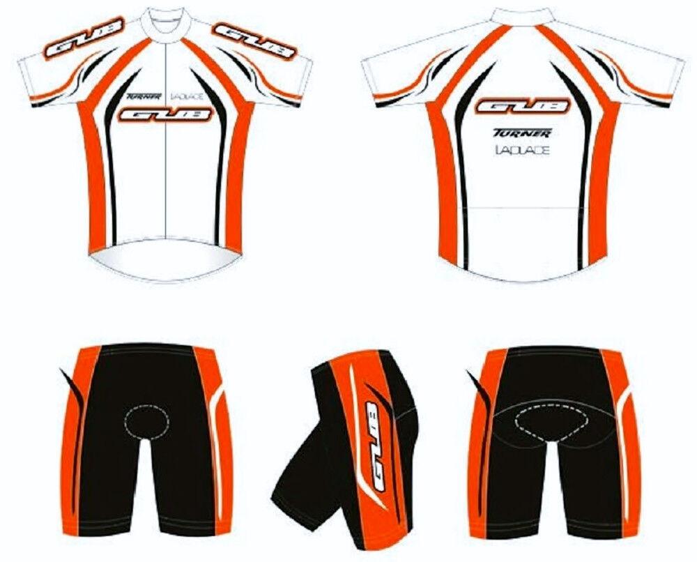 GUB Cycling Jersey and Short Lycra, Set 1/2 Zipper, Lycra, Short Spandex Orange/Weiß 3XL 9b9717