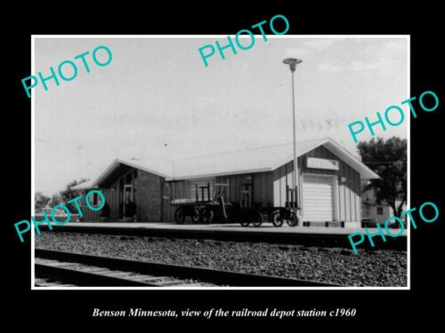 OLD 6 X 4 HISTORIC PHOTO OF BENSON MINNESOTA, THE RAILROAD DEPOT STATION c1960