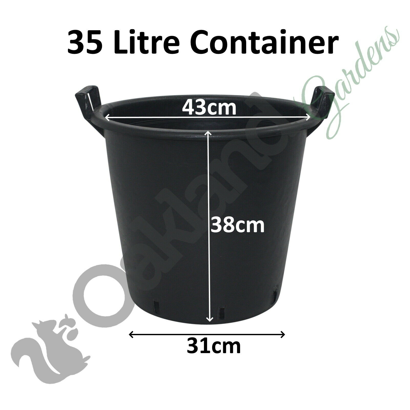 1 x 35 Litre Plant Tree Pot With Handles Heavy Duty 35L Lt Big Large Plastic