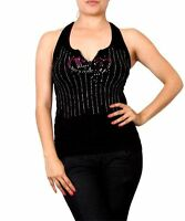 Black Sleeveless Nylon Spandex Top With Front Rhinestones Designs. One Size.