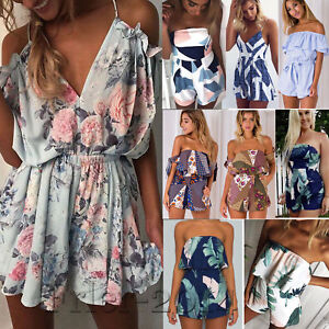 477ef9ec3c91 Image is loading Sexy-Women-Boho-Playsuit-Jumpsuit-Rompers-Summer-Beach-
