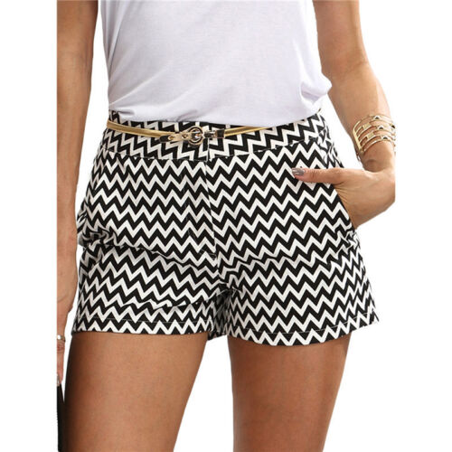 Women/'s Casual Summer Shorts Black and White Mid Waist Buttons Pocket 6A