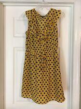 Bebop Juniors Mustard Yellow Navy Blue Polka Dot Cinched Waist Dress Small M