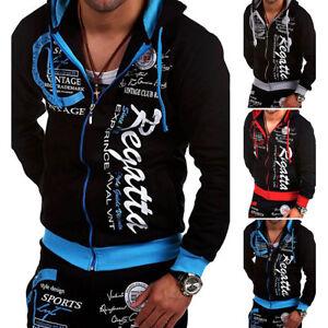 3ce0575a3 Men's Winter Slim Zip Hoodies Warm Hooded Sweatshirt Coat Jacket ...