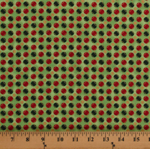 Christmas Polka Dots Green Red Gold Metallic Cotton Fabric Print by Yard D504.12