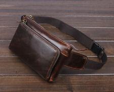 Men Oil Wax Genuine Leather Vintage Cell Phone Belt Fanny Pack Waist Purse  Bag