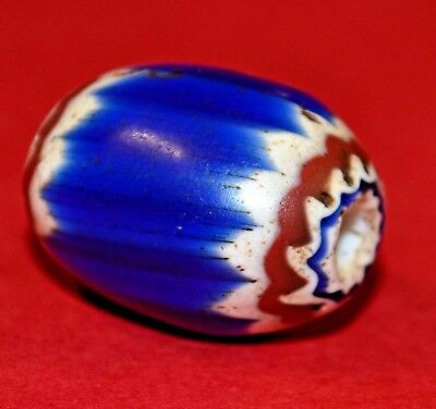 Antique Venetian Six Layer Chevron Drawn Glass Italian Bead From African Trade