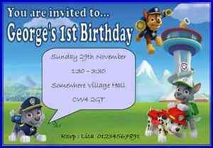 Paw-Patrol-Children-039-s-Birthday-Party-Invitations-Personalised-Children-Boy-Girl