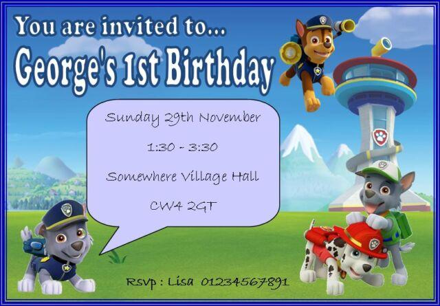 Paw Patrol Children's Birthday Party Invitations Personalised Children Boy Girl