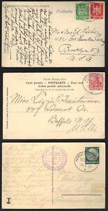 GERMANY-1909-1933-THREE-PAQUEBOT-P-C-s-SEAPOST-BREMEN