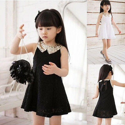 Fashion Girls Toddlers Kids Princess Party Wedding Lace Dress Size 2-7Y Black