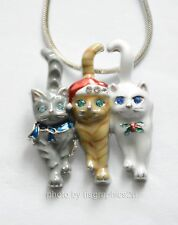3 Christmas Cats Pendent Necklace / Silver-tone Chain / Holiday Santa Kitten