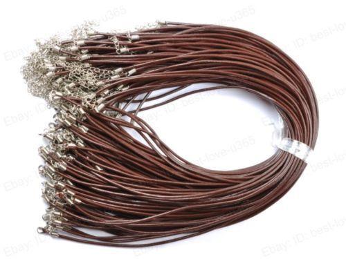 1.5 mm 2 mm 2.5 mm 3 mm negro y marrón cuero genuino de la ampliación de las cadenas de cable de collar