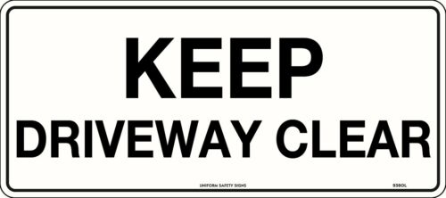 Keep Driveway Clear Safety Sign Traffic Carpark 450x200mm Polypropylene