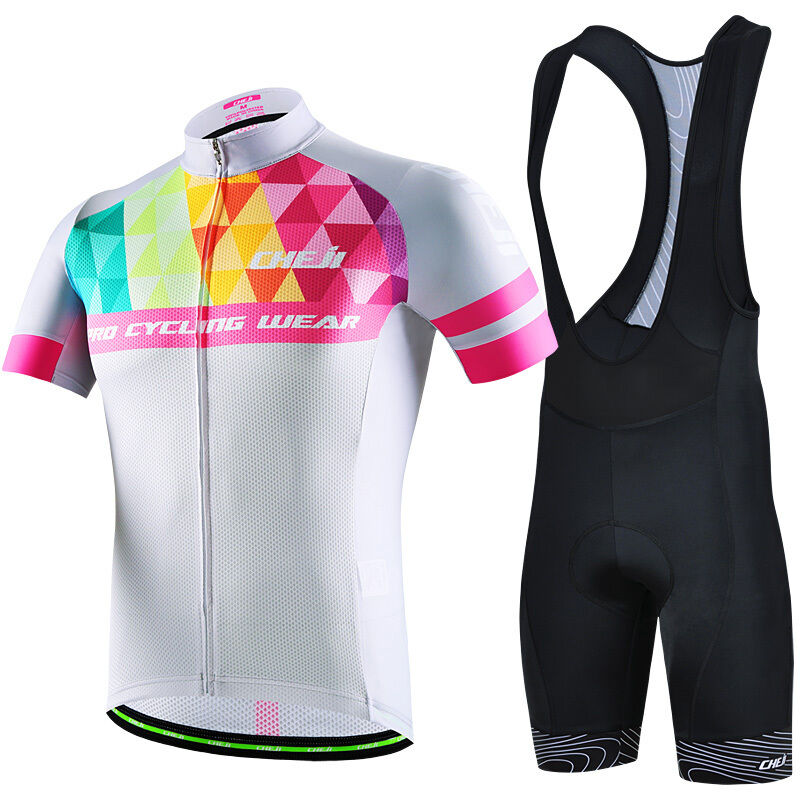 CHEJI Men's Cycling Set Bicycle Shirt Jersey & Bike Bib Shorts Coloree Triangle