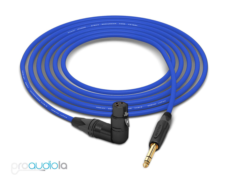 Mogami 2534 Quad Cable   Neutrik gold 90º XLR-Female to TRS   bluee 5 Feet 5 ft.