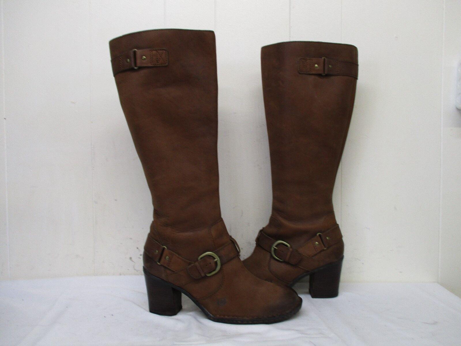Born Braun Leder Zip Stiefel Harness Knee High Heel Stiefel Zip Größe 9.5 M/W Style B67706 06dd28