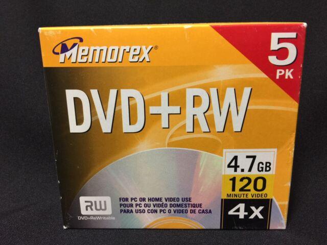 NIB Memorex DVD+RW 4.7GB 120 Minute Video 4X Discs, Pack of 5  FS