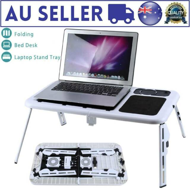 Laptop Lap Desk Foldable Table e-Table Bed with USB Cooling Fans Stand TV Tray E