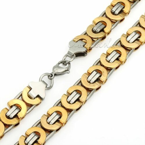11mm Mens Flat Byzantine Link Necklace Gold/&Silver Stainless Steel Chain Jewelry