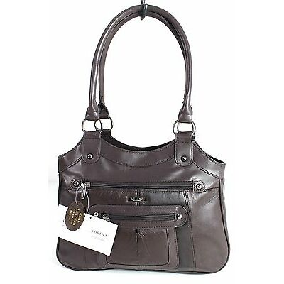 Large Ladies Women Two Strap Lorenz Real Patch Leather Shoulder Bag Handbag