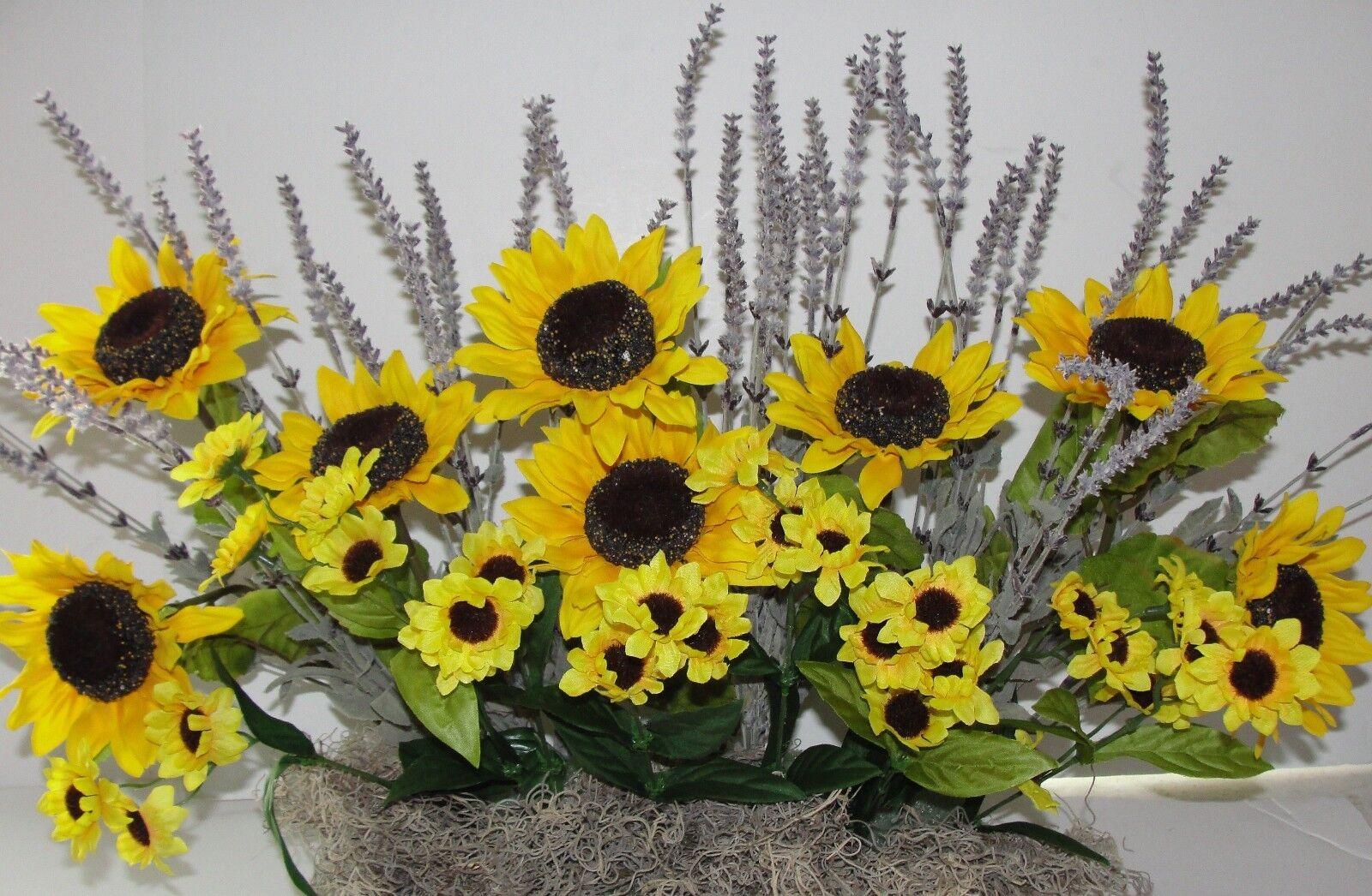 Fall Autumn Silk Sunflowers Lavender Window Box Box Box Arrangement fits your 24  box 9db1ec