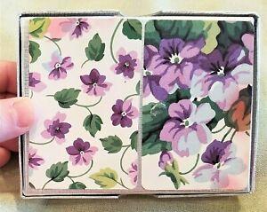 PIATNIK-Sealed-Austria-Double-Deck-PLAYING-CARDS-Purple-Flowers-Vintage-Violets