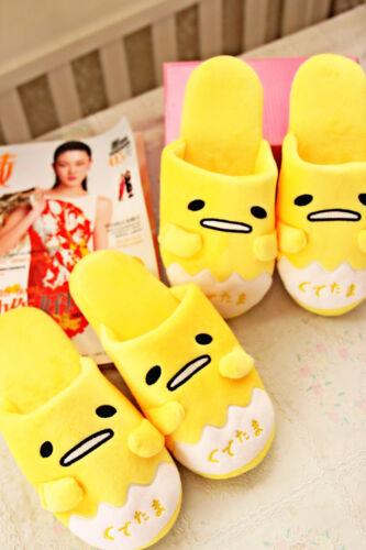 Gudetama yellow egg plush indoor antiskid shoes slippers one pair TL09 WARM