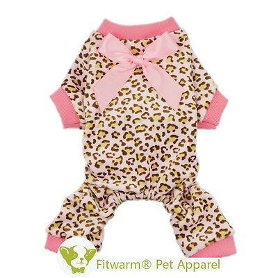 Fitwarm Leopard Dog Pink Pajamas Fleece Pet Clothes Dog Coat for Girl Jumpsuit