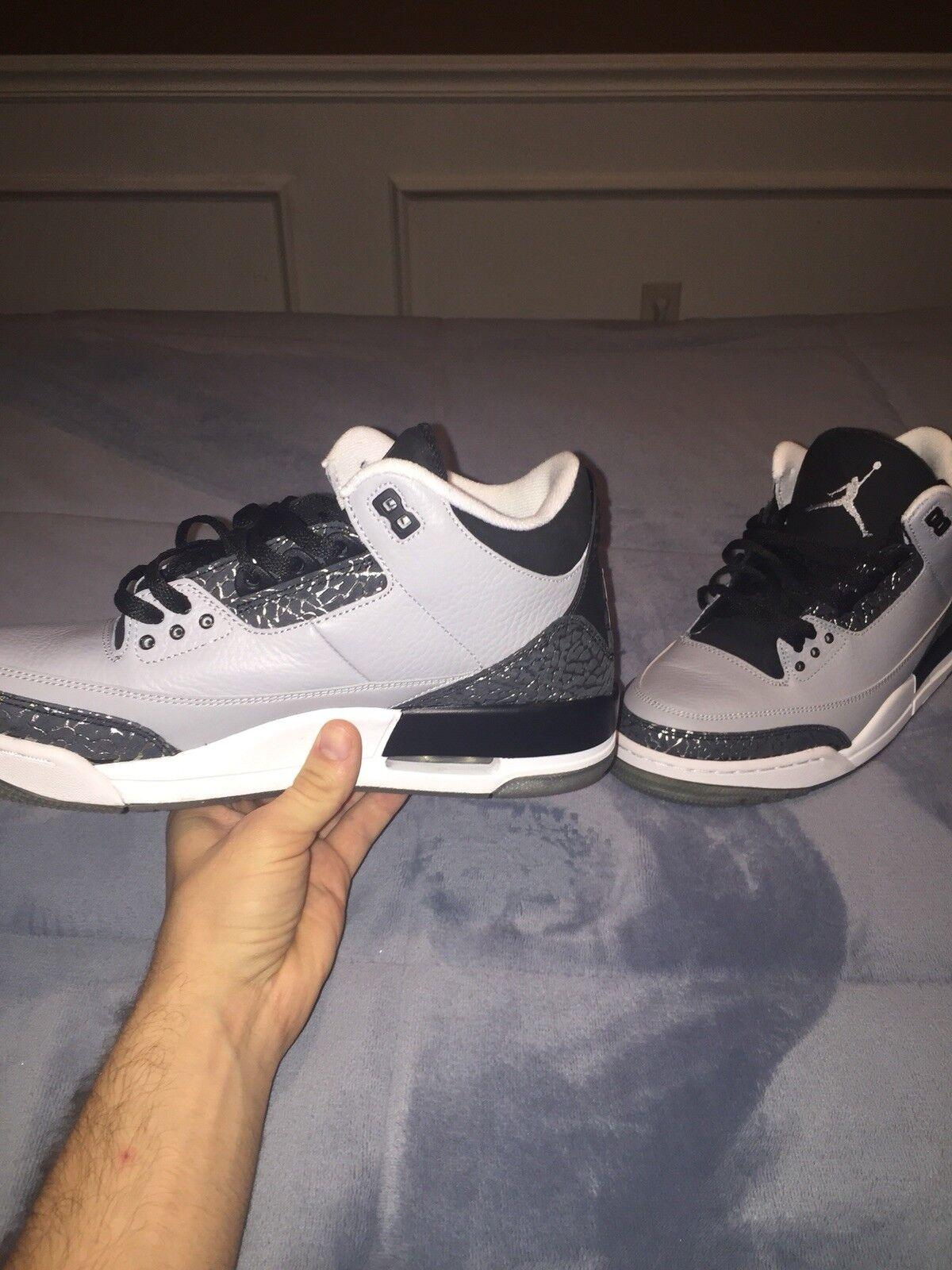 Nike air jordan iii 3 retrò lupo cemento grigio nero argento numero 9 136064-004