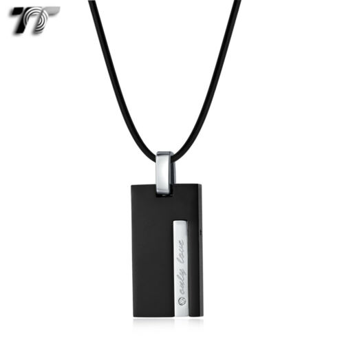 NEW TT 316L Stainless Steel Black Love Dog Tag Pendant Necklace Small NP388S