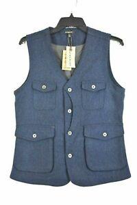 Jeremiah-Porter-Herringbone-100-Wool-Vest-Mens-Navy-Sleeveless-V-Neck