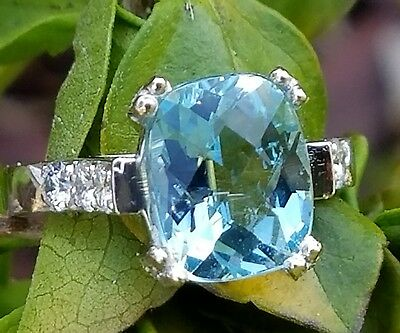 Antique Platinum Aquamarine Diamond Ring Estate Jewelry 6.7 gm