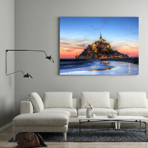 Canvas Wall Art Picture Castle Sea Sunset Framed Print Living Room Bedroom Decor