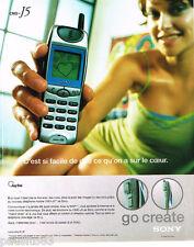 PUBLICITE ADVERTISING 075  2001  SONY  2  téléphonie mobile GO CREATE  CMD-J5