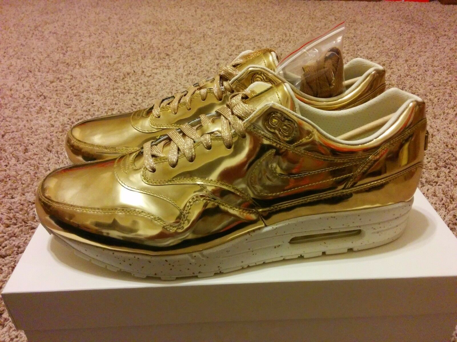 Nike Air Max 1 SP Liquid Gold Metal Iridescent Mirror Chrome All Metallic Sz 14
