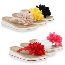 Damen Plateau Sandaletten Zehentrenner Keilabsatz Sommer Schuhe 826328 Trendy