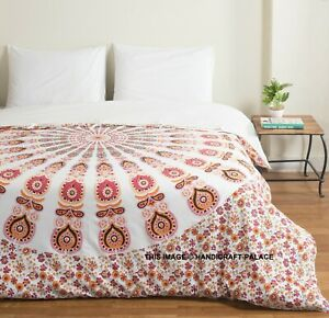 Indian-Cotton-Duvet-Cover-Peacock-Mandala-Quilt-Cover-Reversible-Bedding-Case