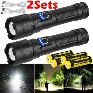 2x 990000LM P50 LED Flashlight Rechargeable 5Mode Zoom XHP50 LED Torches Battery