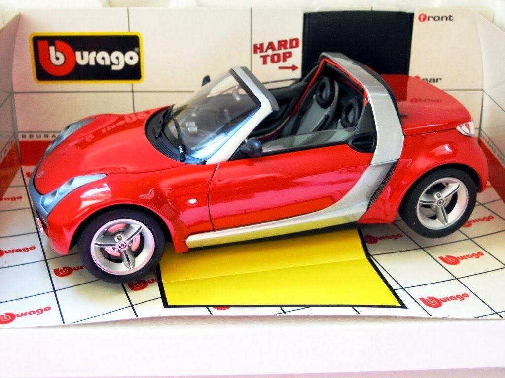 Bburago 34099  SMART ROADSTER en Rouge, Métal-Modèle en 1 18, NOUVEAU & NEUF dans sa boîte