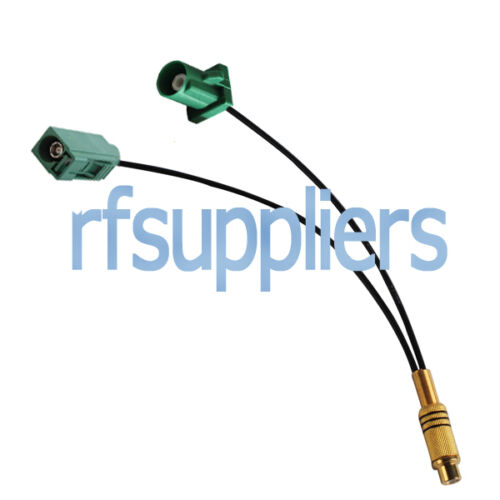 RCA Jack to Two Farka Green Jack and Plug Cable RG174 20cm