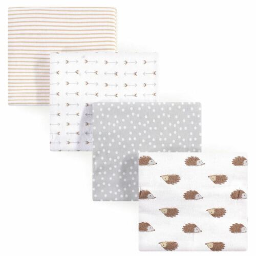 Hudson Baby Boy and Girl Flannel Receiving Blanket Hedgehog 4-Pack