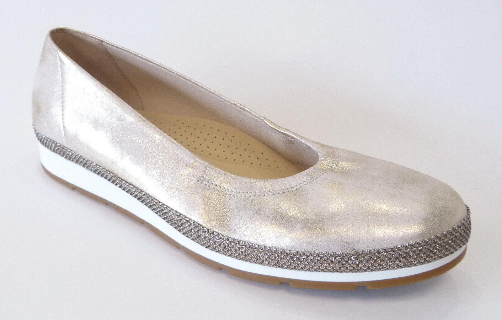 Venta de liquidación de temporada Descuento por tiempo limitado Gabor Comfort Ballerina Gummizug 400 46 Platino silber Weite G powder Metallic
