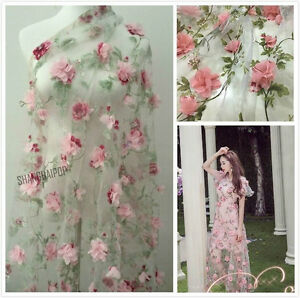 Lace-Fabric-Organza-3D-Pink-Chiffon-Rose-Floral-Embroidery-55-034-Wide-By-Meter-New