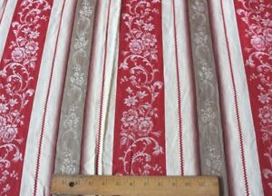 """Beautiful Antique c1900 French Floral Turkey Red Ticking Fabric~L-127""""X W-62"""""""