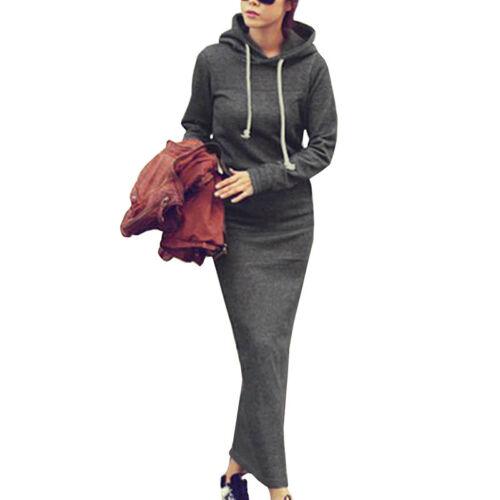 UK Women Long Sleeve Hooded Slim Holiday Maxi Dress Hoodie Sweatshirt #ntw