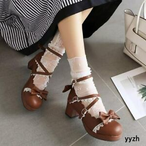 cosplay japanese lolita girls mid heels ankle strap pumps