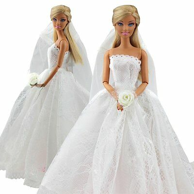 Eledoll Wedding Dress Bridal Dress /& Shoes Set for Barbie Doll Bride Fashion