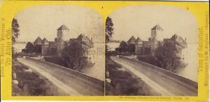 Suisse Château Da Chillon Stereo W.Inghilterra Stereoview Vintage Albumina Ca