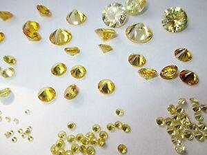 1 Cz Gelb 8,0 Mm Rund Brillantschliff Cubic Zirkonia Synthetischer Edelstein